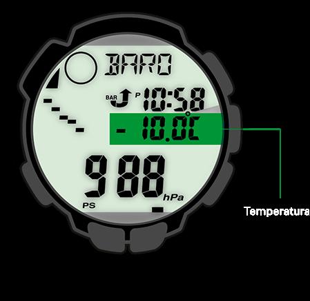 O termómetro do PRO TREK mede temperaturas entre os -10 °C e os +60 °C