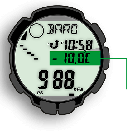 Термометр PRO TREK измеряет температуры в диапазоне от –10 °C до +60 °C
